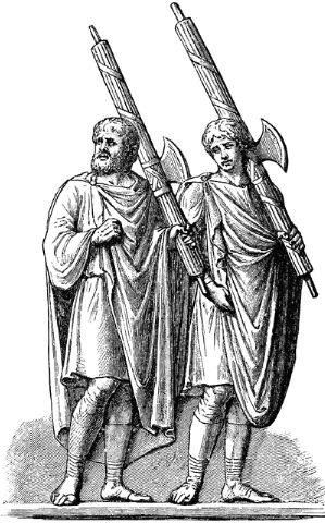 Roman Lictors with Fasces Containing Rods and Axe
